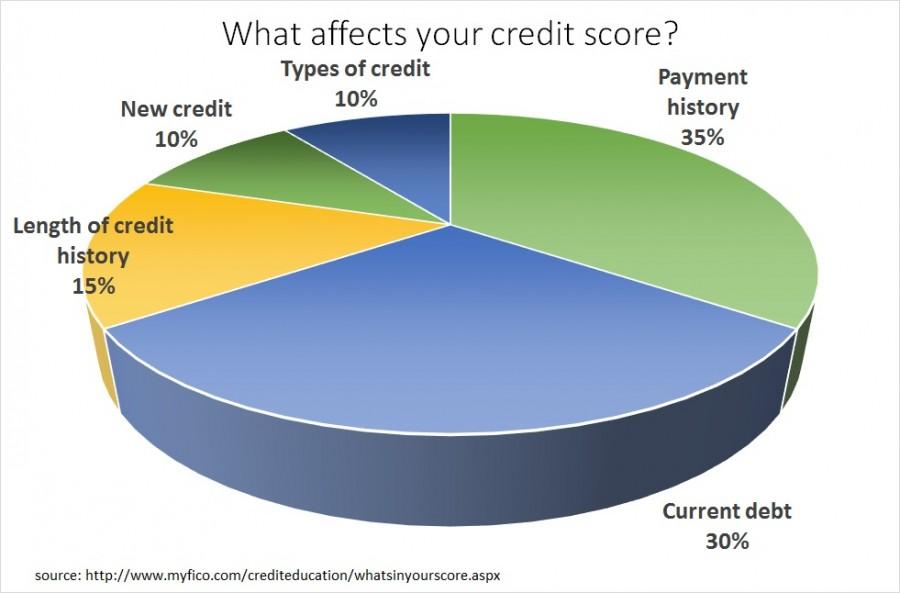 Credit score components pie chart