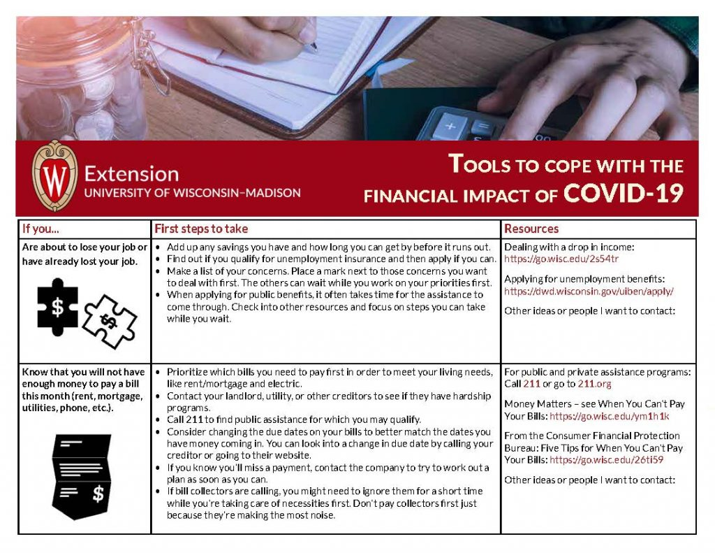tools to cope with financial difficulties during COVID-19