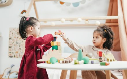 Two young girls playing with blocks