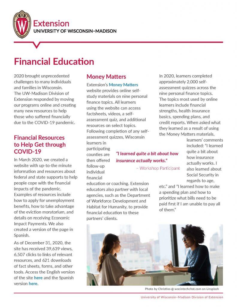 2020 Financial Education Impact Report