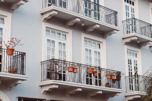 a home with a balcony